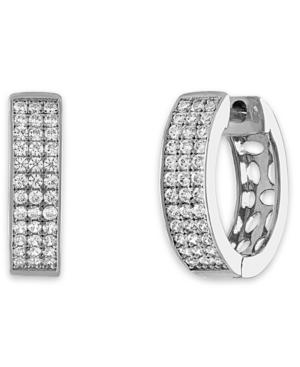 Diamond Pave Hoop Earrings (1/3 ct. t.w.) in Sterling Silver