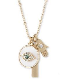 "Gold-Tone Evil Eye Multi-Charm Pendant Necklace, 16""  + 3"" extender"