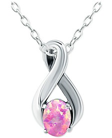 """Lab-Created Pink Opal 18"""" Pendant Necklace (1/2 ct. t.w.) in Sterling Silver, Created for Macy's"""
