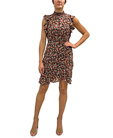 Ditsy-Print Ruched Short Dress