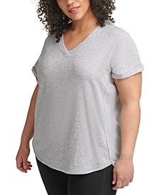 Plus Size Solid Rolled-Cuff Top