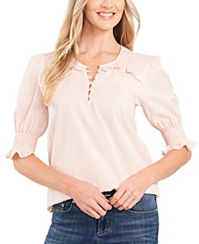 Clip-Dot Puff-Sleeve Cotton Top