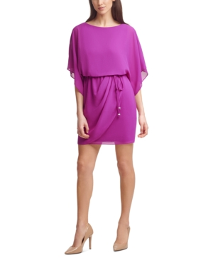 Jessica Howard Dresses SOLID CHIFFON BOAT-NECK SHEATH DRESS