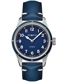 Men's Swiss Automatic 1858 Blue Leather Strap Watch 40mm