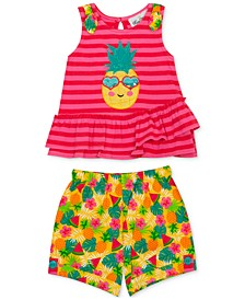 Baby Girls 2-Pc. Pineapple Top & Printed Shorts Set