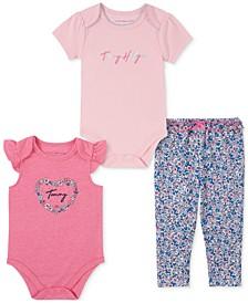 Baby Girls 3-Pc. Logo Bodysuits & Floral-Print Jogger Pants Set