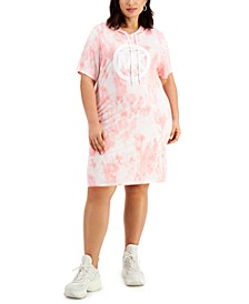 Plus Size Tie-Dyed Hoodie Dress