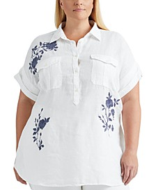 Plus Size Embroidered Linen Top