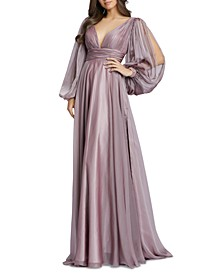 Mesh Balloon-Sleeve Gown