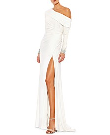 One-Shoulder Long-Sleeve Gown