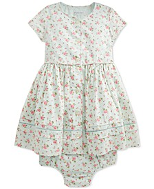 Baby Girls Floral-Print Cotton Dress & Bloomer Set