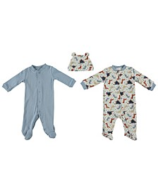 Baby Boys Footed Coverall Set with Zipper, Set of 3