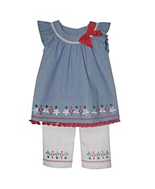 Little Girls Top with Bow Embroidery Flare Capri Set