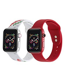 Men's and Women's Naughty or Nice Red 2 Piece Silicone Band for Apple Watch 42mm