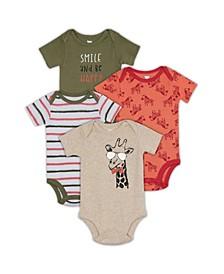 Baby Boys Giraffe 4-Pack Bodysuit