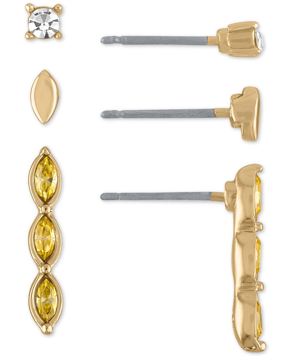 Rachel Rachel Roy Gold-Tone 3-Pc. Set Round & Marquise Crystal Earrings