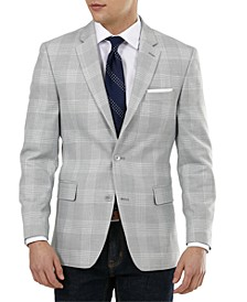 Men's Slim-Fit Gray Plaid Blazer