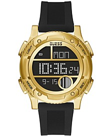 Men's Digital Black Silicone Strap Watch 45mm