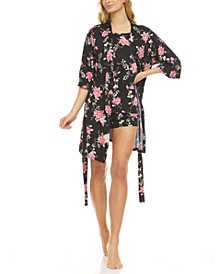 Livia Robe, Tank Top & Tap Shorts 3pc Travel Pajama Set