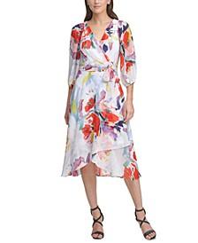 Balloon-Sleeve Wrap Midi Dress