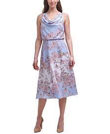 Printed-Chiffon Cowlneck Midi Dress