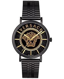 Men's Swiss V Essential Black Leather Strap Watch 40mm