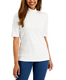 Petite Cotton Mock Neck Elbow-Sleeve Top, Created for Macy's