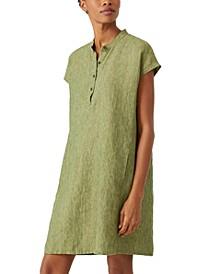 Organic Linen Mandarin-Collar Dress