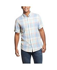 Men's Plaid Short Sleeves Linen Shirt