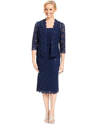 Alex Evenings Petite Sequined Lace Sheath and Jacket