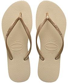 Women's Slim Metallic Flip Flop Sandals