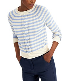 Cable-Knit Striped Sweater