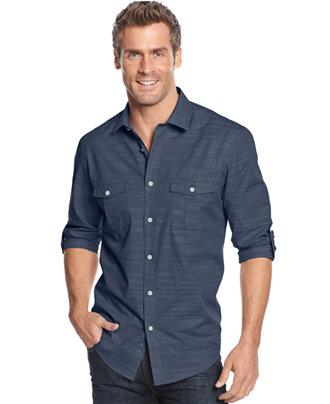 Alfani Black Long Sleeve Warren Shirt Casual Button Down