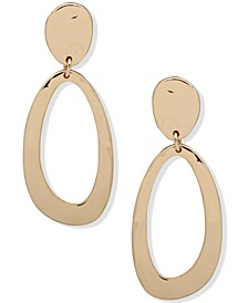 Gold-Tone Open & Closed Oval Drop Earrings