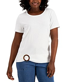 Tortoise Shell Ruched T-Shirt, Created for Macy's