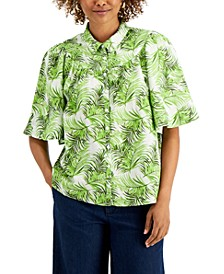 Petite Oversized Tropical Button-Down Top, Created for Macy's