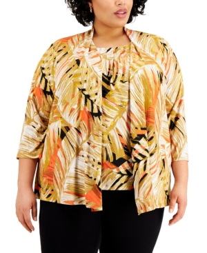 Plus Size Tropical-Print 3/4-Sleeve Open-Front Cardigan Sweater