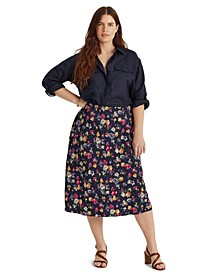 Plus Size Floral Print Skirt