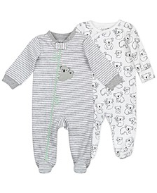 Baby Boys & Girls Sleep Play with Koala Print and Mini Stripes, 2 Pack