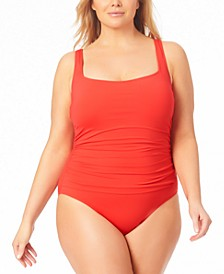 Plus Size Shirred One-Piece Swimsuit