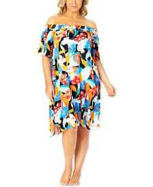 Plus Size Printed Off-the-Shoulder Swim Cover-Up
