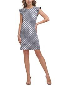 Petite Printed Flutter-Sleeve Dress