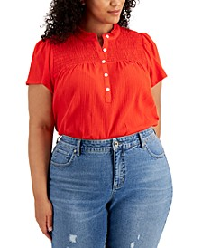 Plus Size Cotton Smocked Top, Created for Macy's