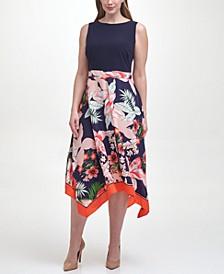 Plus Size Floral-Skirt Dress