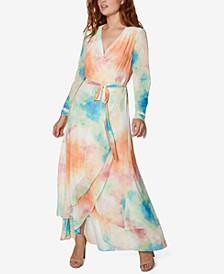 Tie-Dyed Wrap A-Line Dress