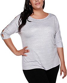 Copper Label Plus Size Women's Boat Neck Tunic with Sleeve Embellishment