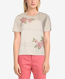 Women's Missy Springtime in Paris Embroidered Flowers Sweater