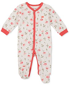 Baby Girls Contrast Trim Floral Footed Coverall