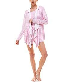 Hooded Cardigan, Tank Top & Shorts 3pc Loungewear Set