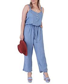 Plus Size Button Front Drawstring Jumpsuit